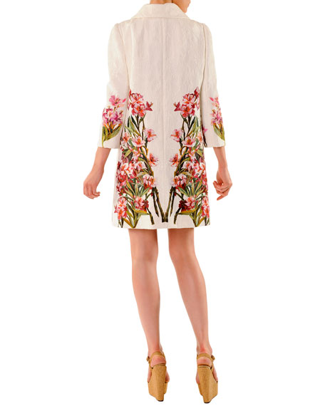 3/4-Sleeve Snap-Front Floral Jacquard Coat