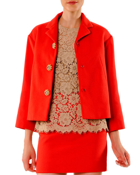 Cotton A-Line Jacket with Jeweled Buttons