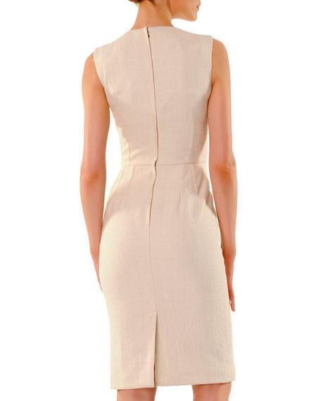 Lace-Applique Round-Neck Sheath Dress