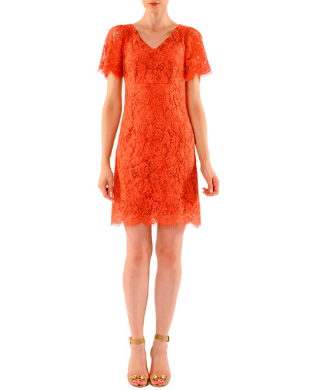 Dolce & Gabbana Above-Knee Short-Sleeve Lace Dress