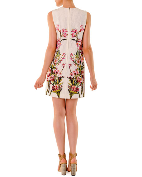 Floral Jacquard Mini Shift Dress