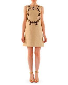 Dolce & Gabbana Above-Knee Tweed Dress with Lace Appliques