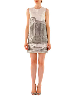 Dolce & Gabbana Ancient Ruin-Printed Linen Mini Shift Dress