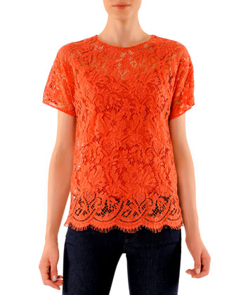Short-Sleeve Scalloped Lace Top
