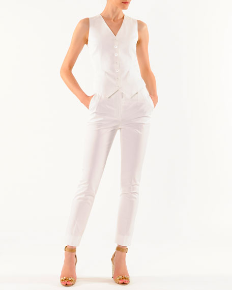 Ankle-Length Slim Pants with Slant Pockets