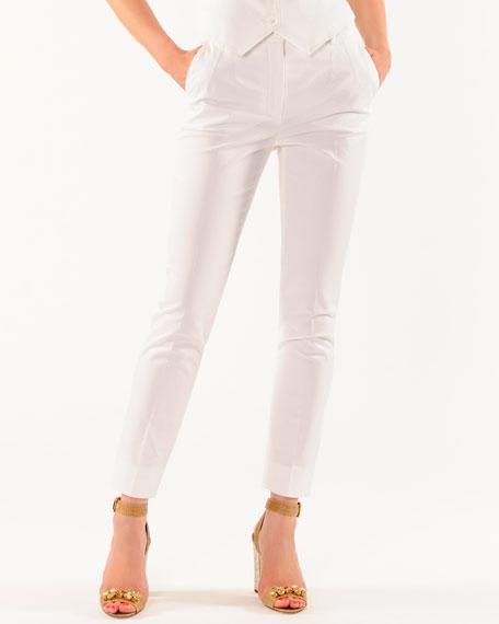 Ankle-Length Slim Pants with Slant Pockets