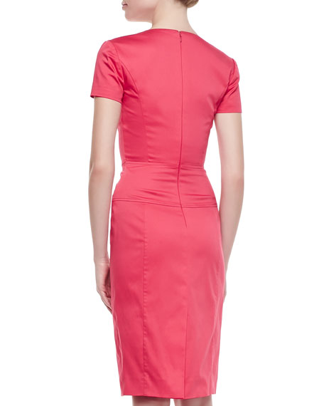 Short-Sleeve V-Neck Seamed Dress, Carnation Pink