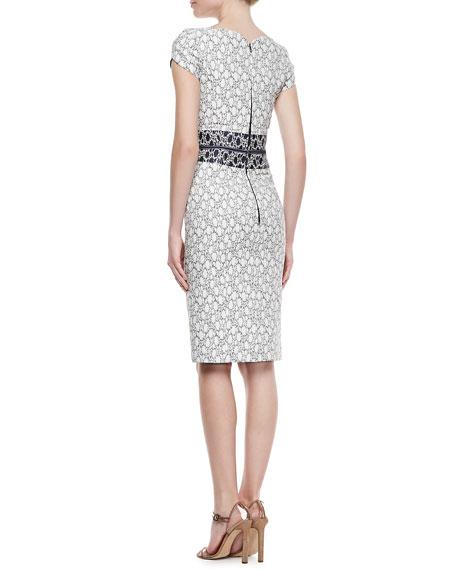 Sweetheart-Neck Sheath Dress, White/Navy