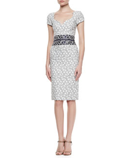 Carolina Herrera Sweetheart-Neck Sheath Dress, White/Navy