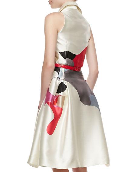 Sleeveless A-Line Shirtdress, Ivory/Multi