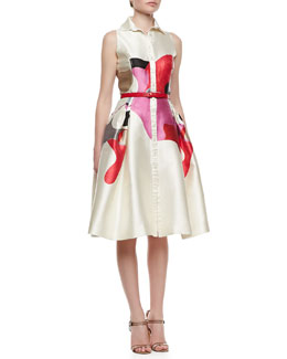 Carolina Herrera Sleeveless A-Line Shirtdress, Ivory/Multi