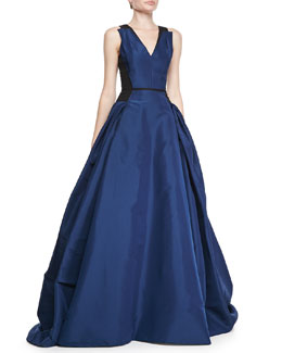 Carolina Herrera Colorblock Full A-Line Gown, Ultramarine