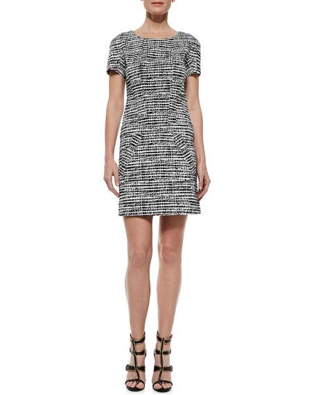 Printed Short-Sleeve Shift Dress