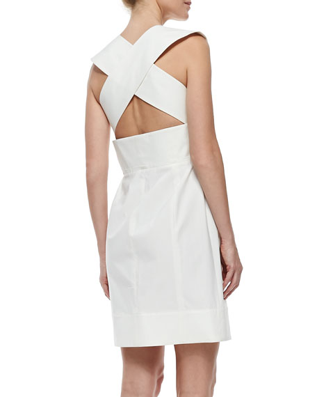 V-Neck Poplin Dress with Crisscross Back, White