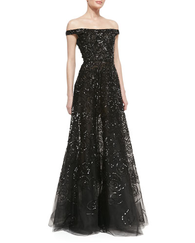 Oscar de la Renta Off-Shoulder Sequined Tulle Gown