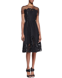 Oscar de la Renta Cutout Faille Dress with Sheer Short Sleeves