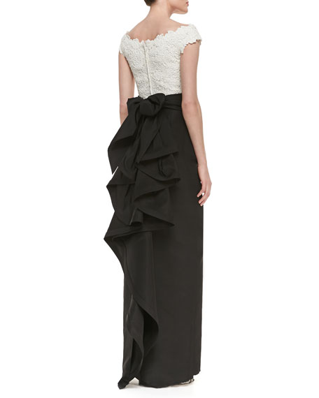 Lace-Bodice Silk Gown with Bow, White/Black
