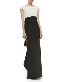 Oscar de la Renta Lace-Bodice Silk Gown with Bow, White/Black