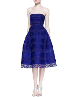 Oscar de la Renta Silk Organza and Lace Tiered Cocktail Dress, Lapis Blue