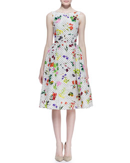 Oscar de la Renta Polka Dot Botanical Silk Faille Dress, White/Multicolor