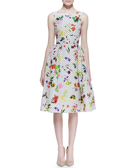 Polka Dot Botanical Silk Faille Dress, White/Multicolor