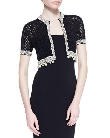 Cropped Short-Sleeve Silk Knit Cardigan with Embellished Trim