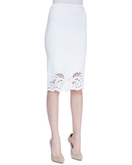 Crochet Trim Cotton Knit Skirt, White