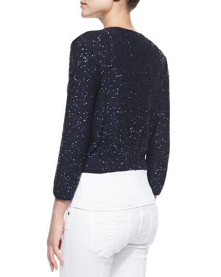 Tonal Sequined Bolero Cardigan, Navy