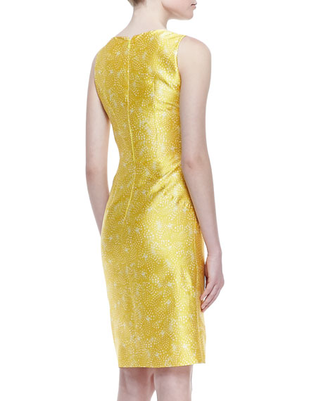 Sleeveless Feather-Print Dress, Canary