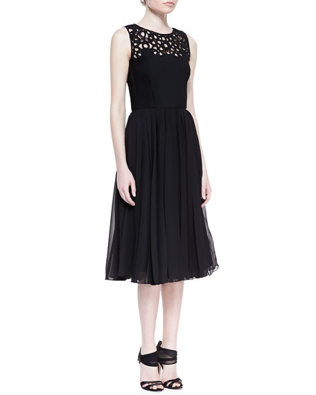 Laser-Cut Silk Dress with Pleated Skirt, Black
