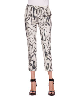 3.1 Phillip Lim Classic Woodgrain Printed Pencil Pants
