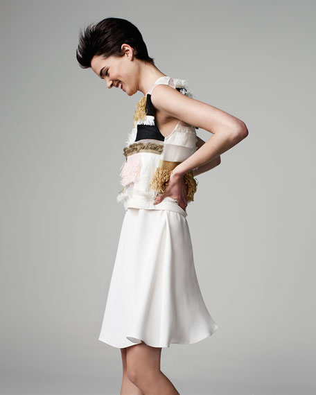 Sleeveless Raffia Patchwork Dress