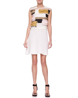 3.1 Phillip Lim Sleeveless Raffia Patchwork Dress