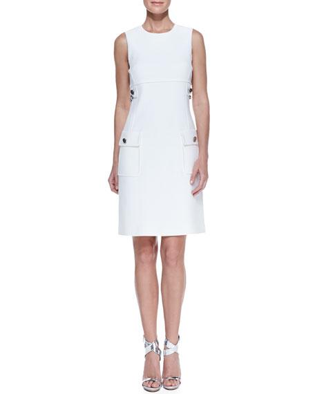 Chain-Detail Pocket Sheath Dress