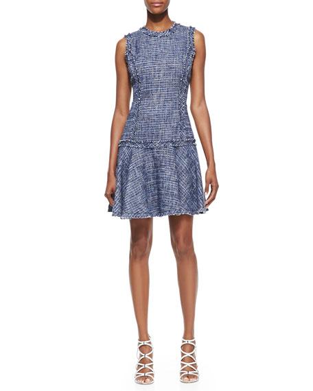 Drop-Skirt Tweed Dress