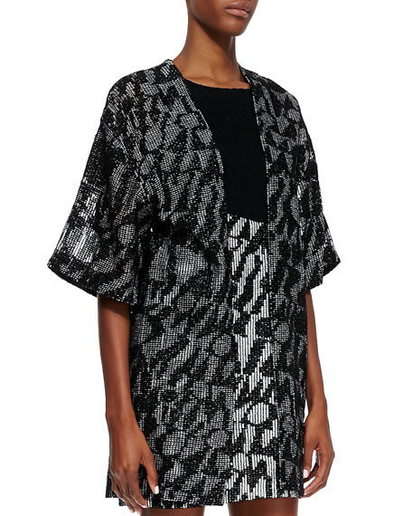 Short-Sleeve Logo Net Cardigan, Black