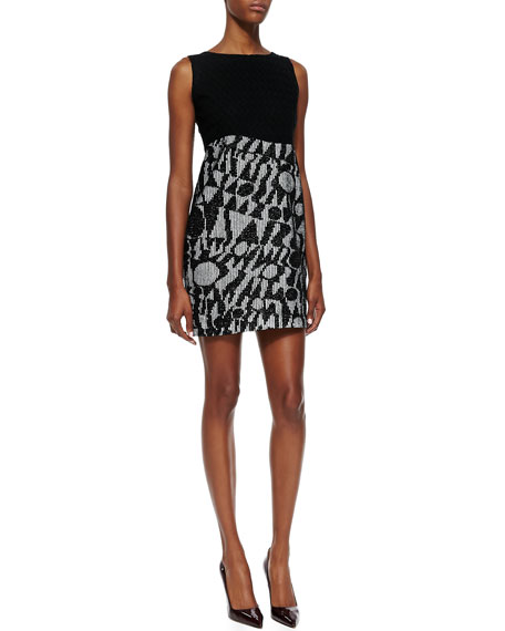 Solid-Bodice Logo Net-Skirt Minidress, Black/White