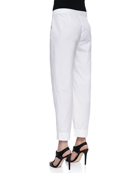 Poplin Button-Cuff Ankle Pants