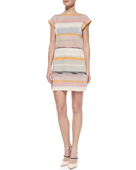 Shimmery Striped Cap-Sleeve Dress