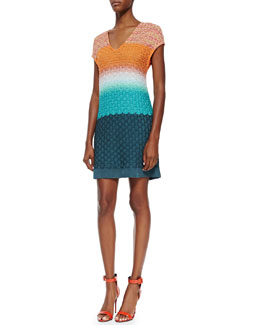 Missoni 3D Stitched Cap-Sleeve Knit Dress, Orange/Turquoise