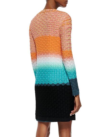 3D Stitched Knit Long Cardigan, Orange/Turquoise