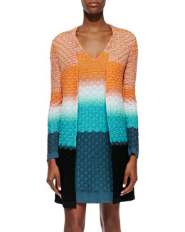 Missoni 3D Stitched Knit Long Cardigan, Orange/Turquoise