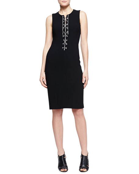 Chain-Front Fitted Dress