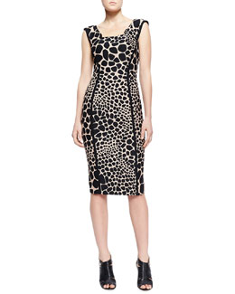Michael Kors  Animal-Print Fitted Dress