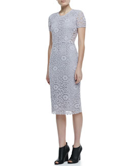 Burberry London Short Sleeve Lace Dress, Pale Orchid