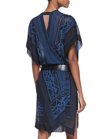 Printed Wrap Dress & Single-Grommet Leather Hip Belt