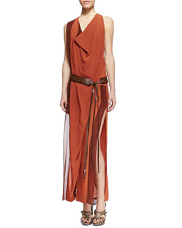 Donna Karan Draped Belted Side-Slit Dress