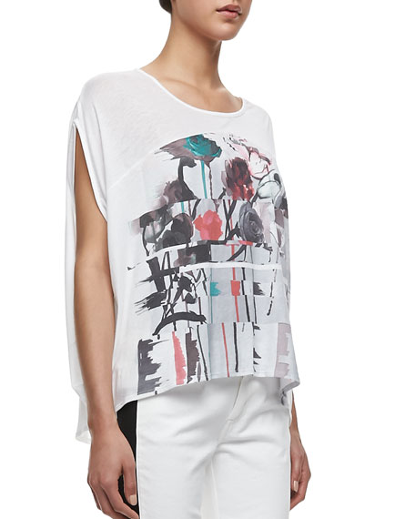 Watercolor-Print Top, White