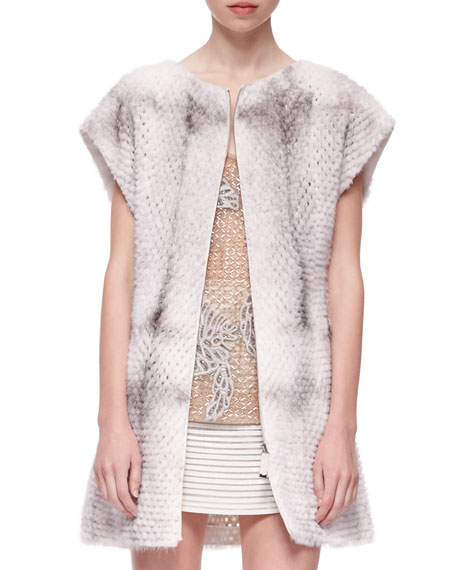 Short-Sleeve Perforated Mink Fur Vest, Natural