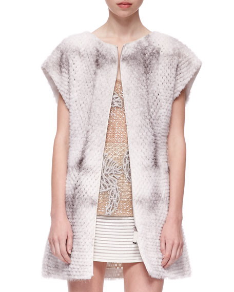 Short-Sleeve Perforated Mink Fur Vest, Natural